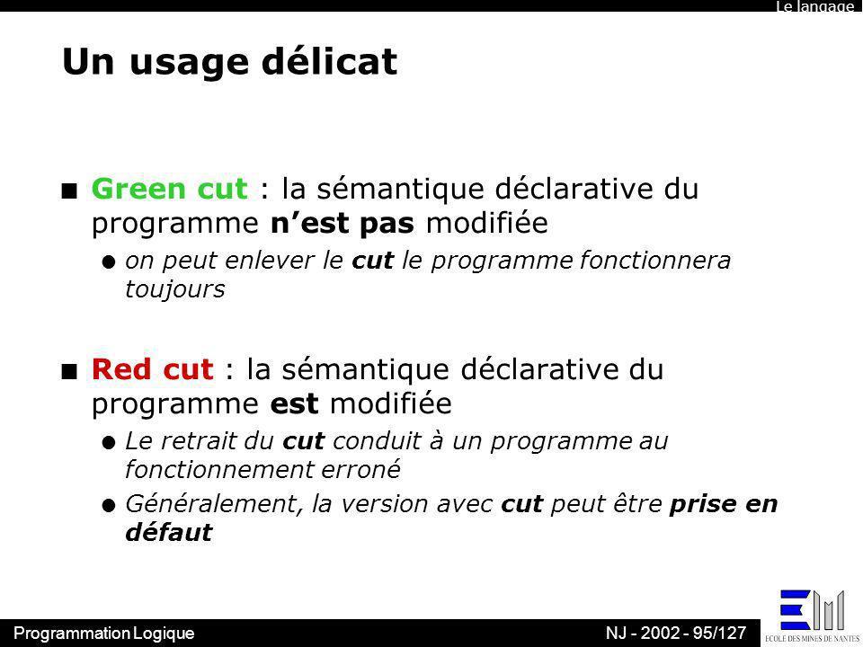 Le langage Un usage délicat. Green cut : la sémantique déclarative du programme n'est pas modifiée.