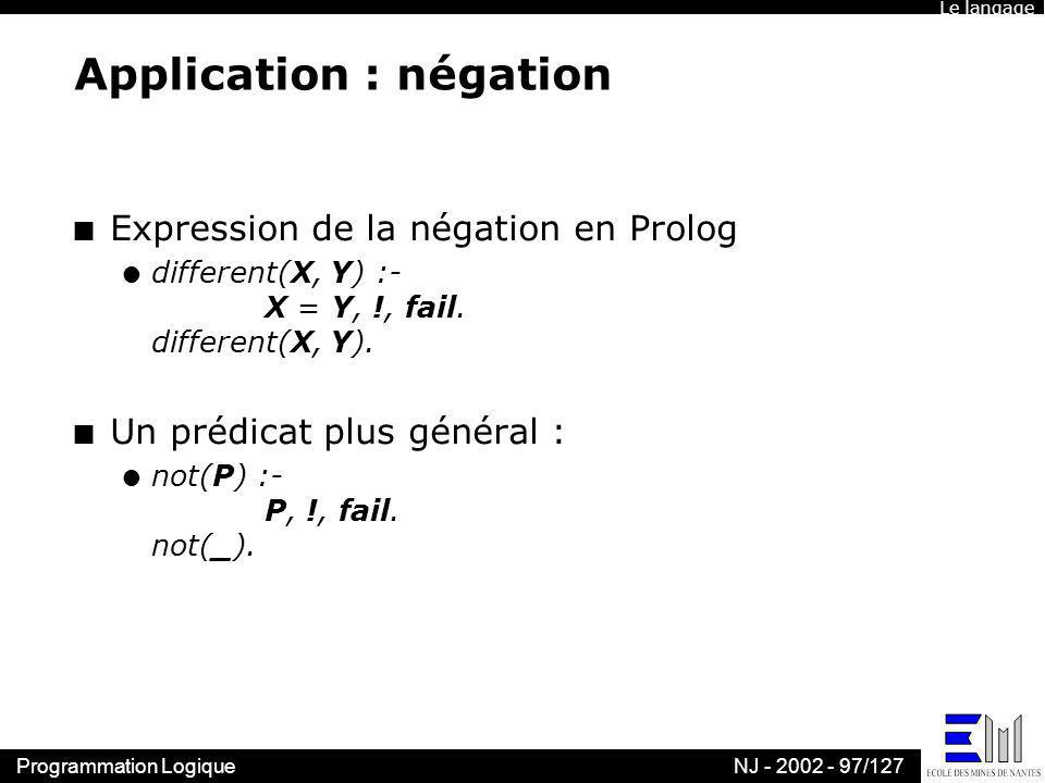 Application : négation