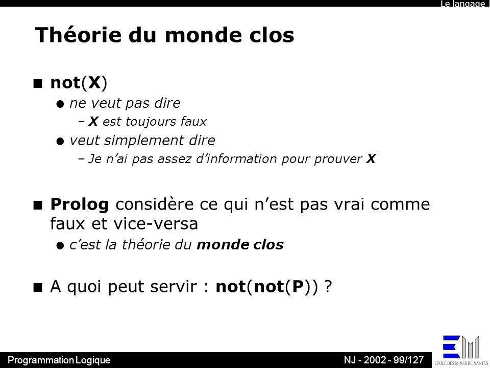 Théorie du monde clos not(X)