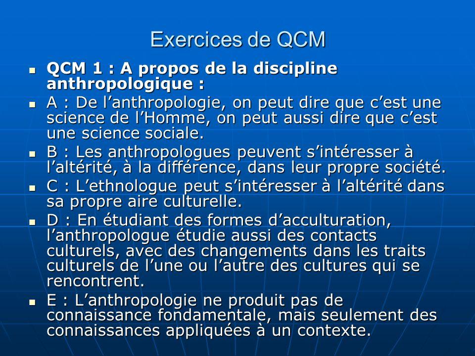 Exercices de QCM QCM 1 : A propos de la discipline anthropologique :