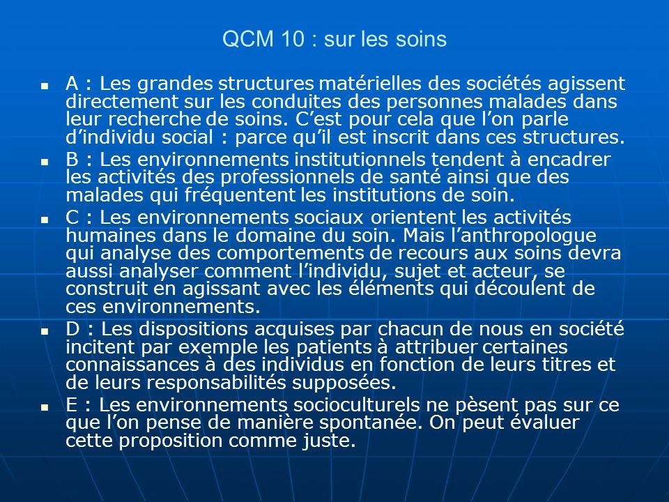 QCM 10 : sur les soins