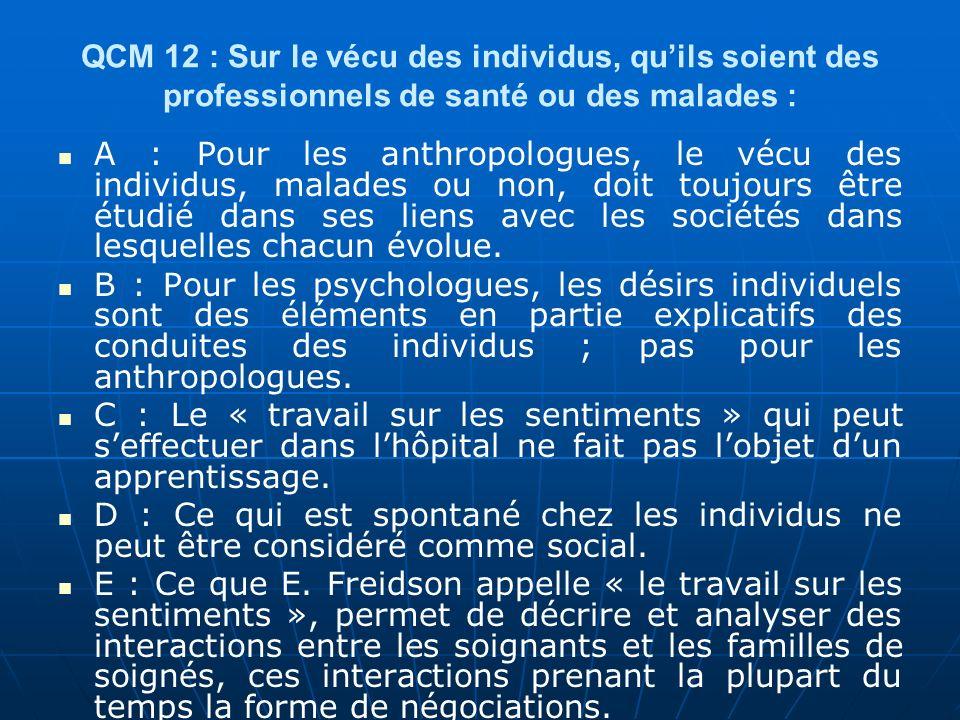 QCM 12 : Sur le vécu des individus, qu'ils soient des professionnels de santé ou des malades :
