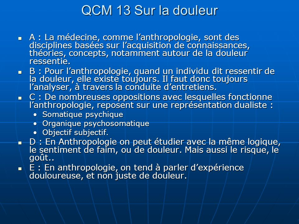QCM 13 Sur la douleur