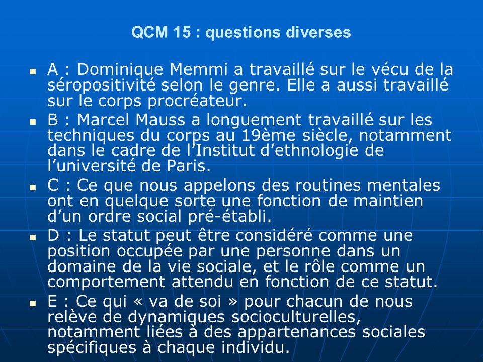 QCM 15 : questions diverses