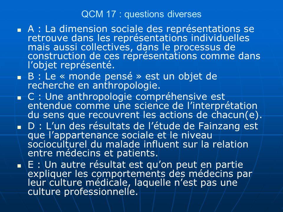 QCM 17 : questions diverses