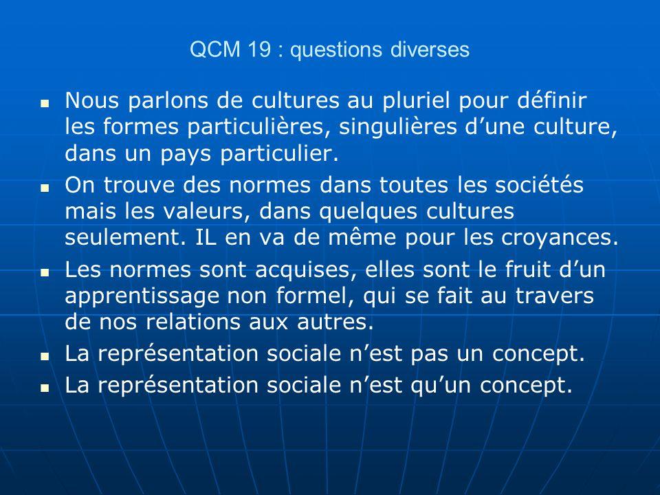 QCM 19 : questions diverses