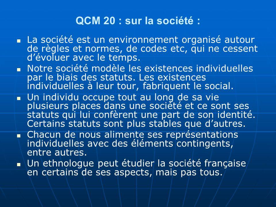 QCM 20 : sur la société : La société est un environnement organisé autour de règles et normes, de codes etc, qui ne cessent d'évoluer avec le temps.