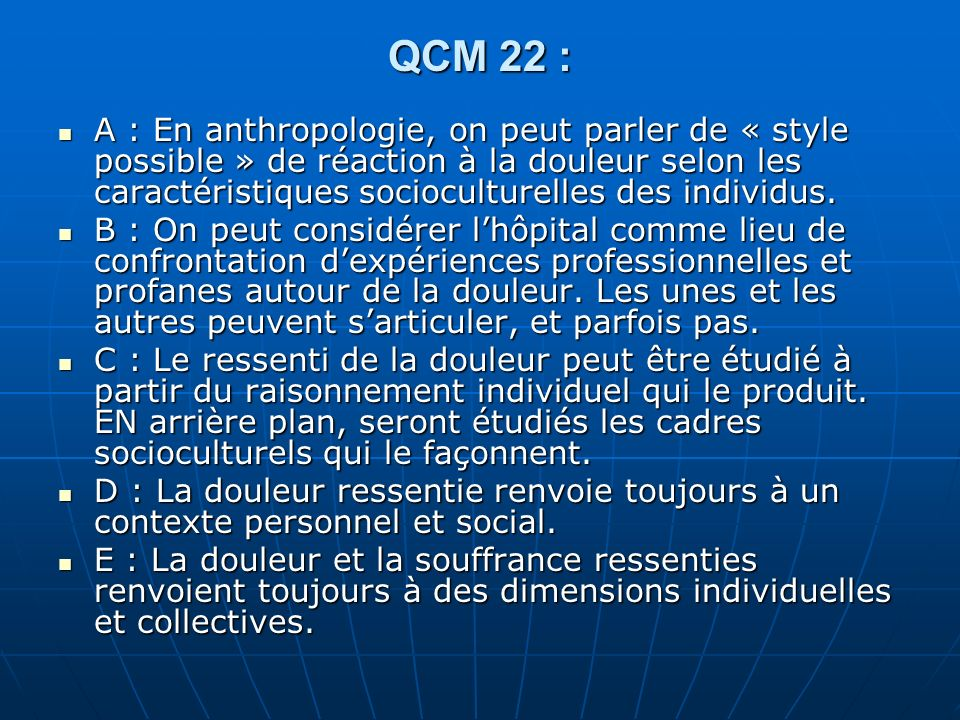 QCM 22 :