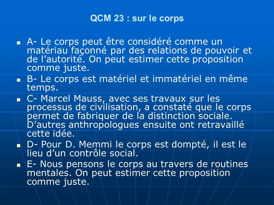 QCM 23 : sur le corps