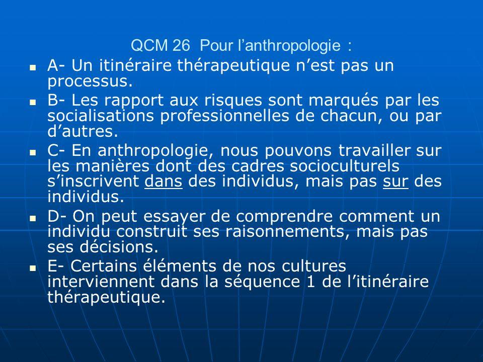 QCM 26 Pour l'anthropologie :