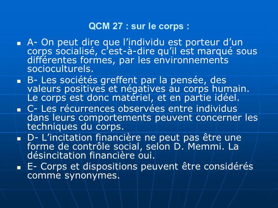 QCM 27 : sur le corps :