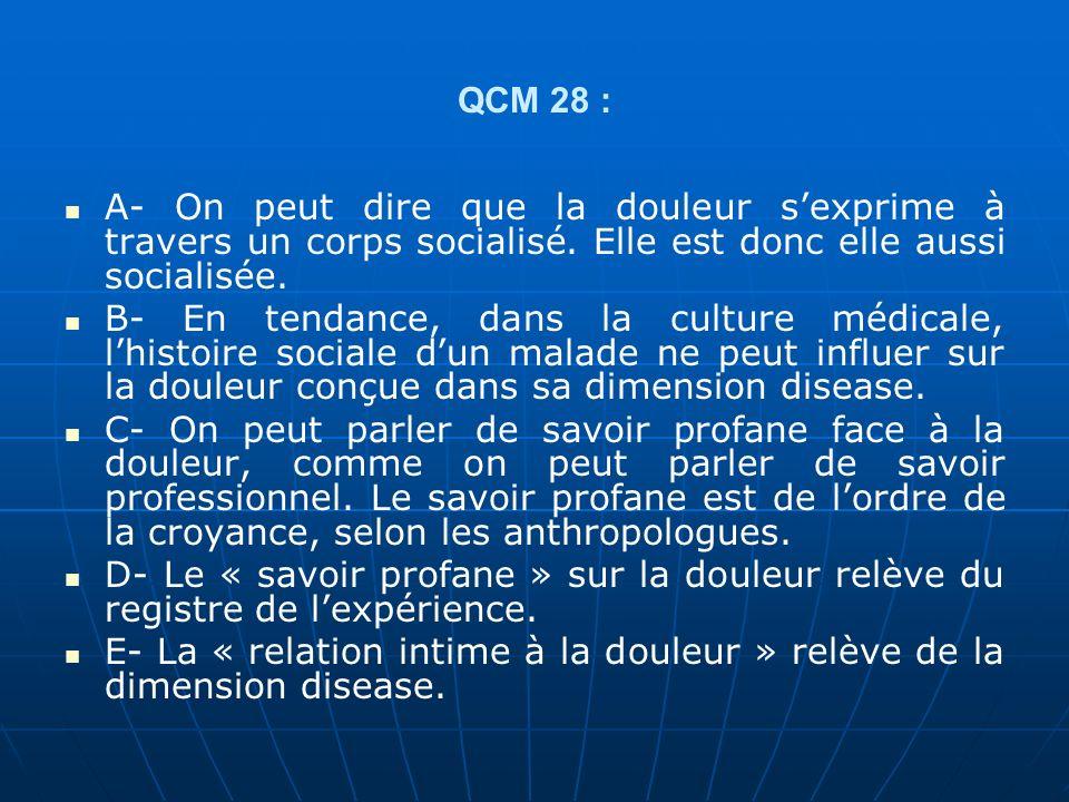 QCM 28 : A- On peut dire que la douleur s'exprime à travers un corps socialisé. Elle est donc elle aussi socialisée.