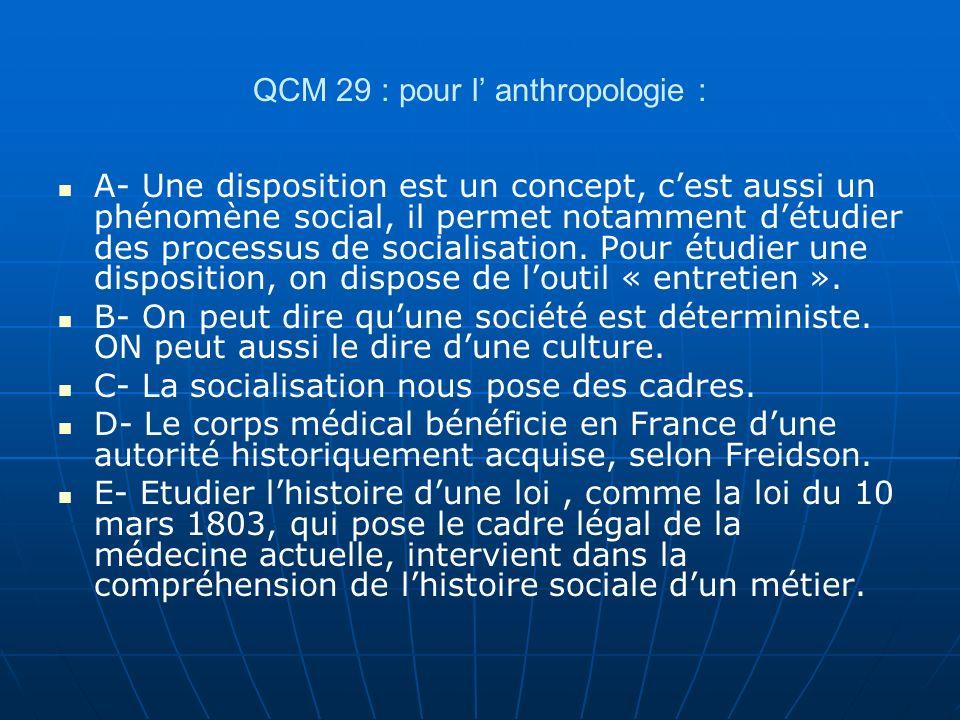 QCM 29 : pour l' anthropologie :