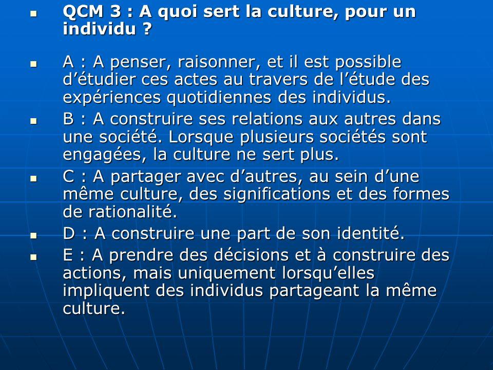 QCM 3 : A quoi sert la culture, pour un individu