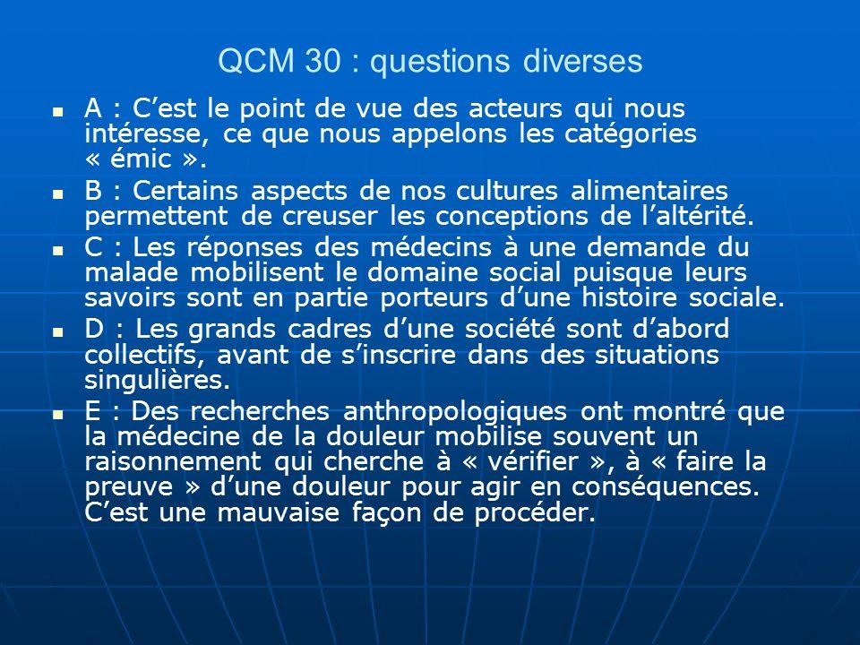 QCM 30 : questions diverses