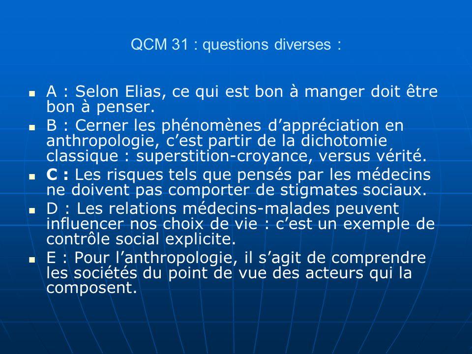 QCM 31 : questions diverses :