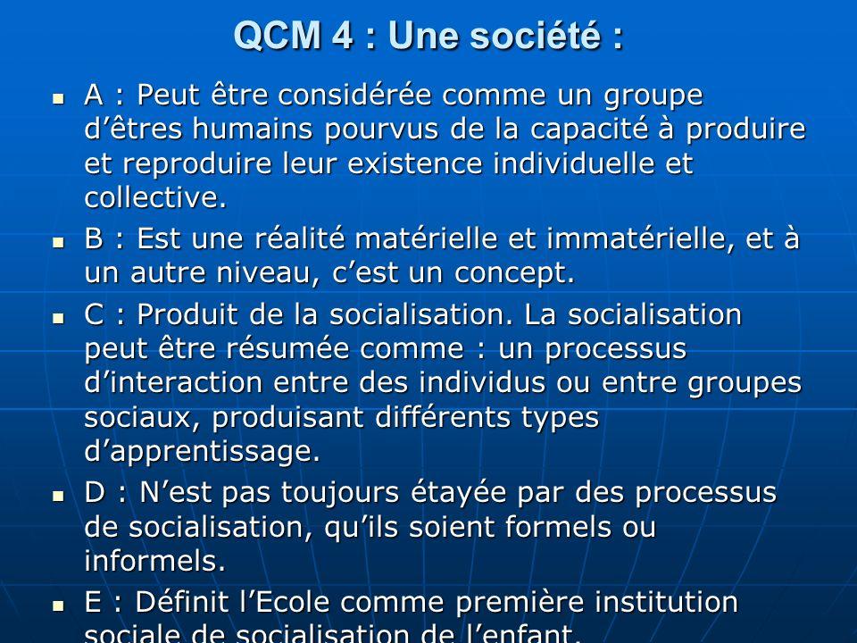 QCM 4 : Une société :