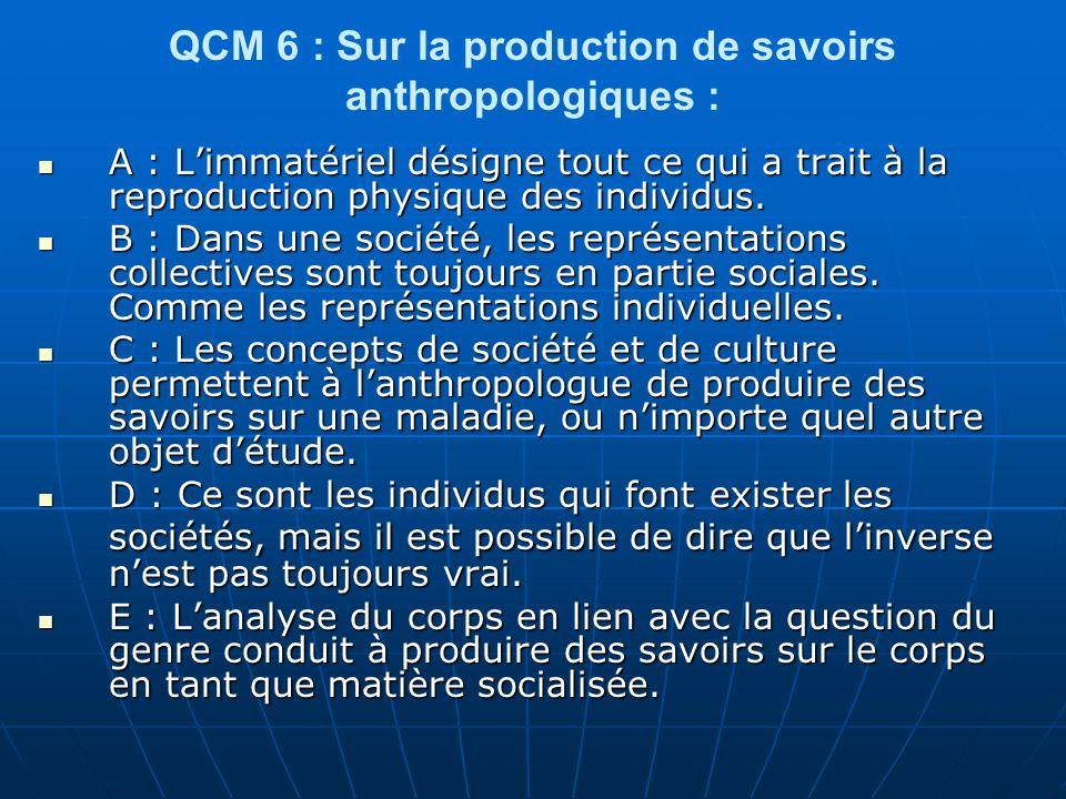 QCM 6 : Sur la production de savoirs anthropologiques :