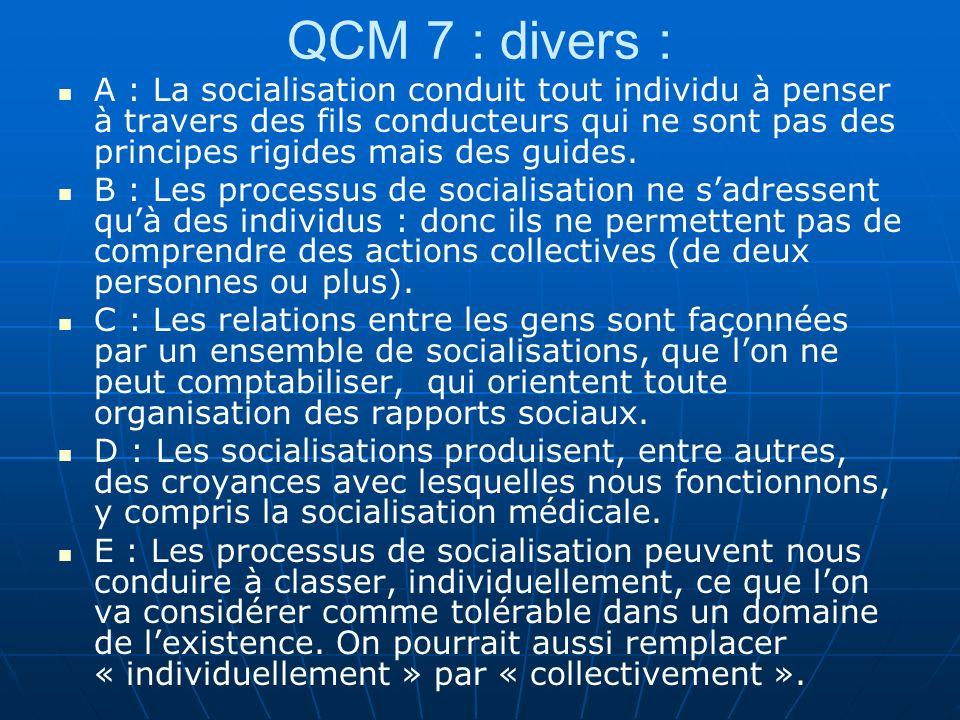 QCM 7 : divers :