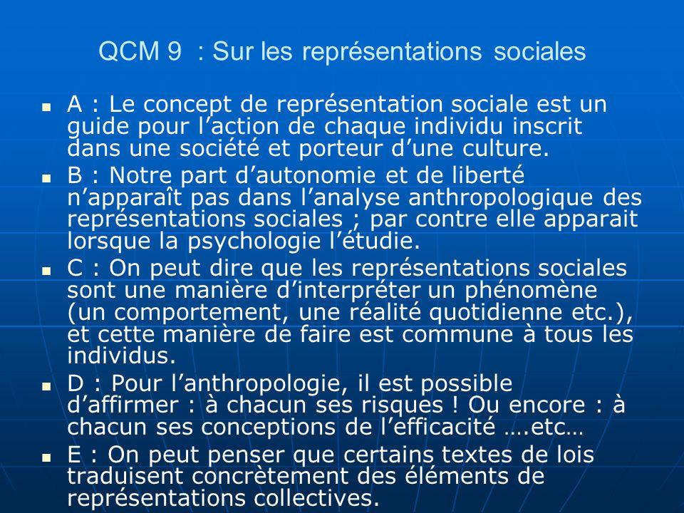 QCM 9 : Sur les représentations sociales
