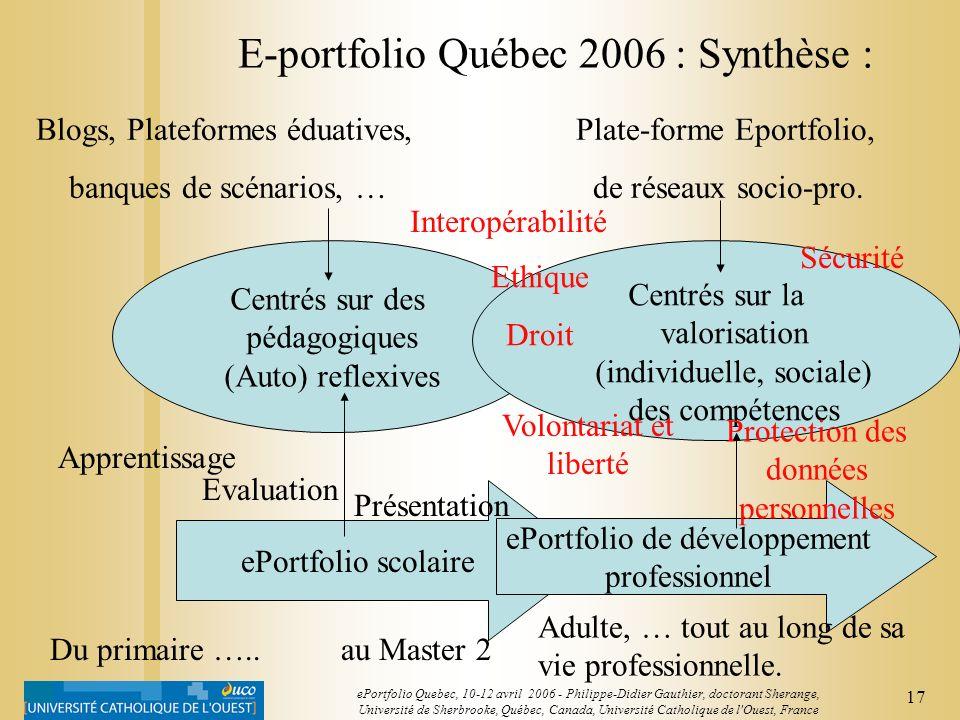 E-portfolio Québec 2006 : Synthèse :