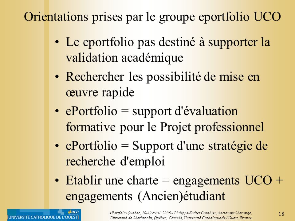 Orientations prises par le groupe eportfolio UCO