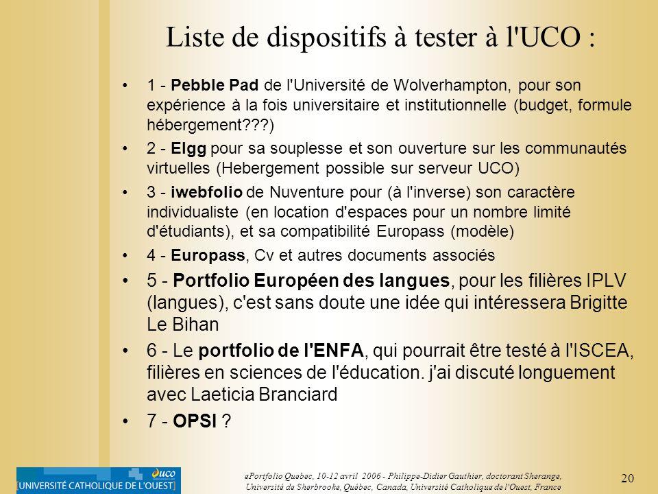 Liste de dispositifs à tester à l UCO :