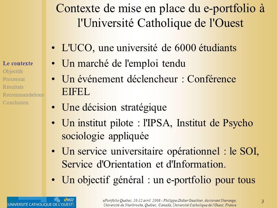 Contexte de mise en place du e-portfolio à l Université Catholique de l Ouest