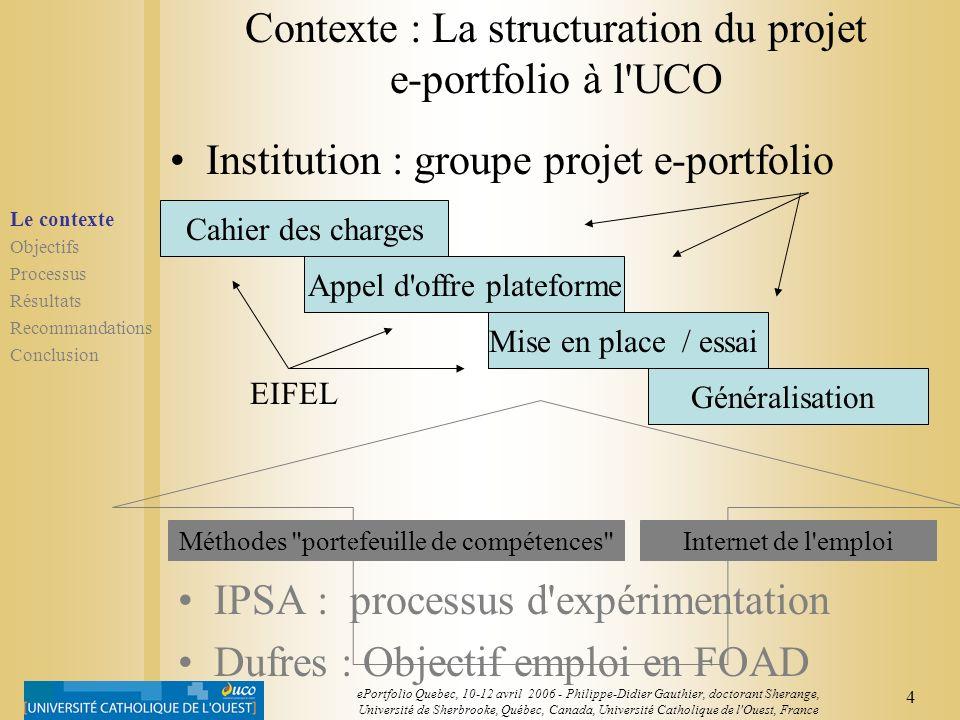 Contexte : La structuration du projet e-portfolio à l UCO