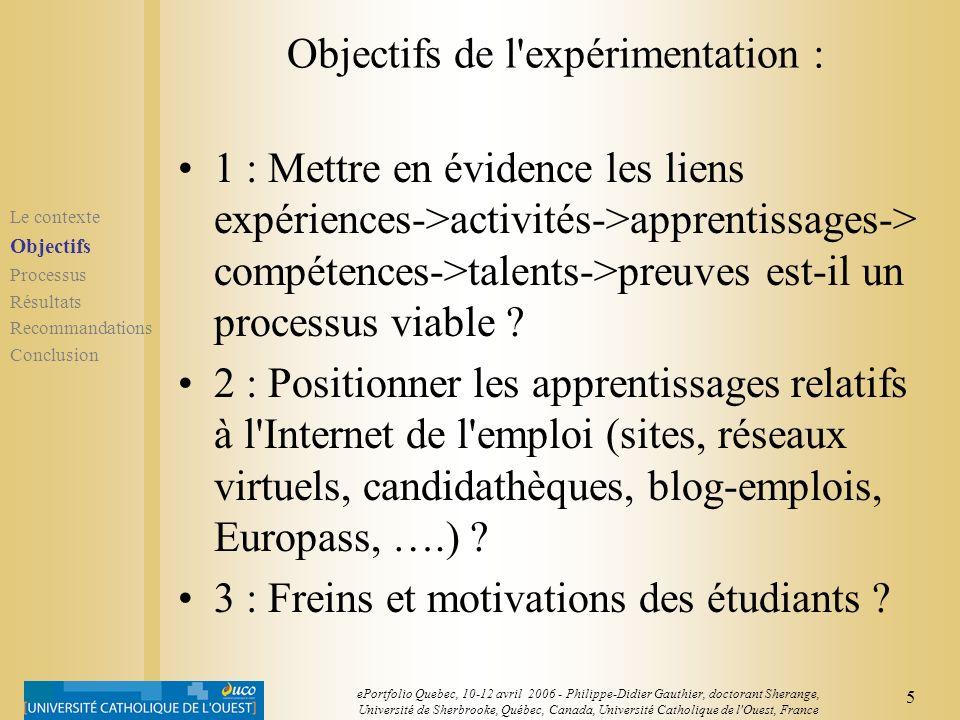 Objectifs de l expérimentation :