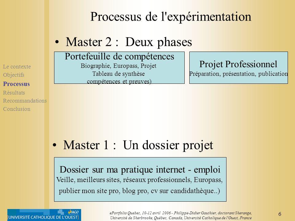 Processus de l expérimentation