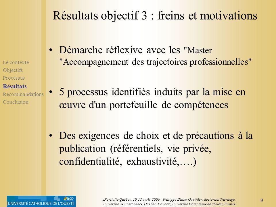 Résultats objectif 3 : freins et motivations