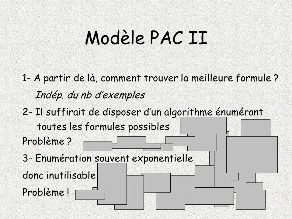 Modèle PAC II 1- A partir de là, comment trouver la meilleure formule Indép. du nb d'exemples.