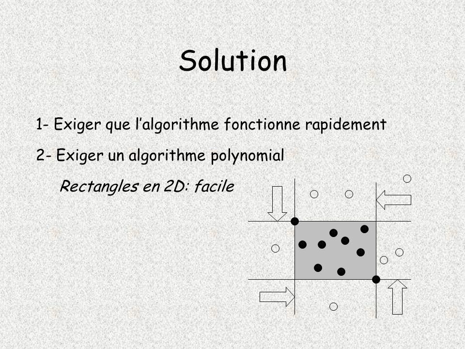 Solution 1- Exiger que l'algorithme fonctionne rapidement