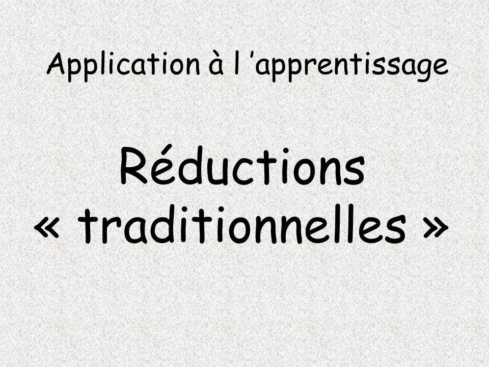 Application à l 'apprentissage