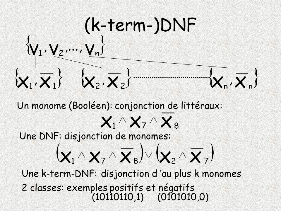 (k-term-)DNF Un monome (Booléen): conjonction de littéraux:
