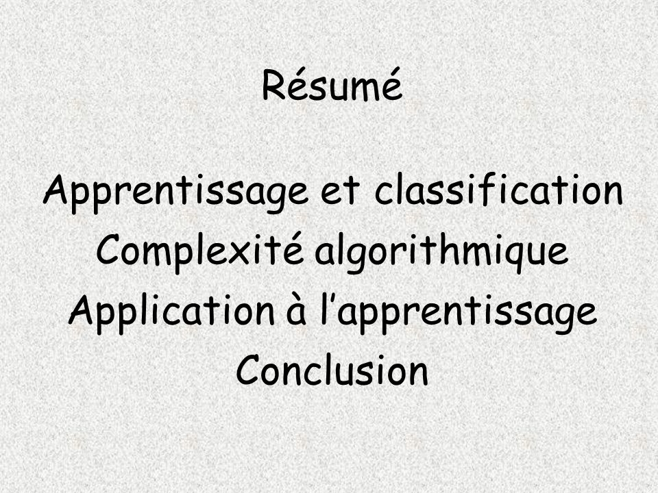 Apprentissage et classification