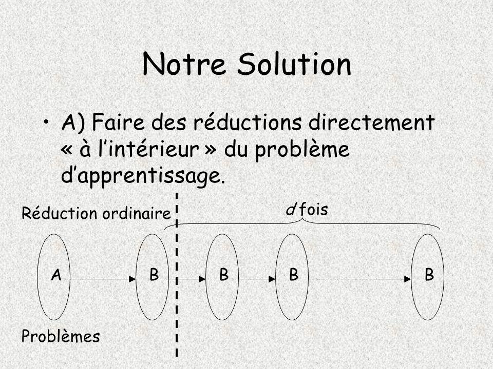 Notre Solution A) Faire des réductions directement « à l'intérieur » du problème d'apprentissage. d fois.