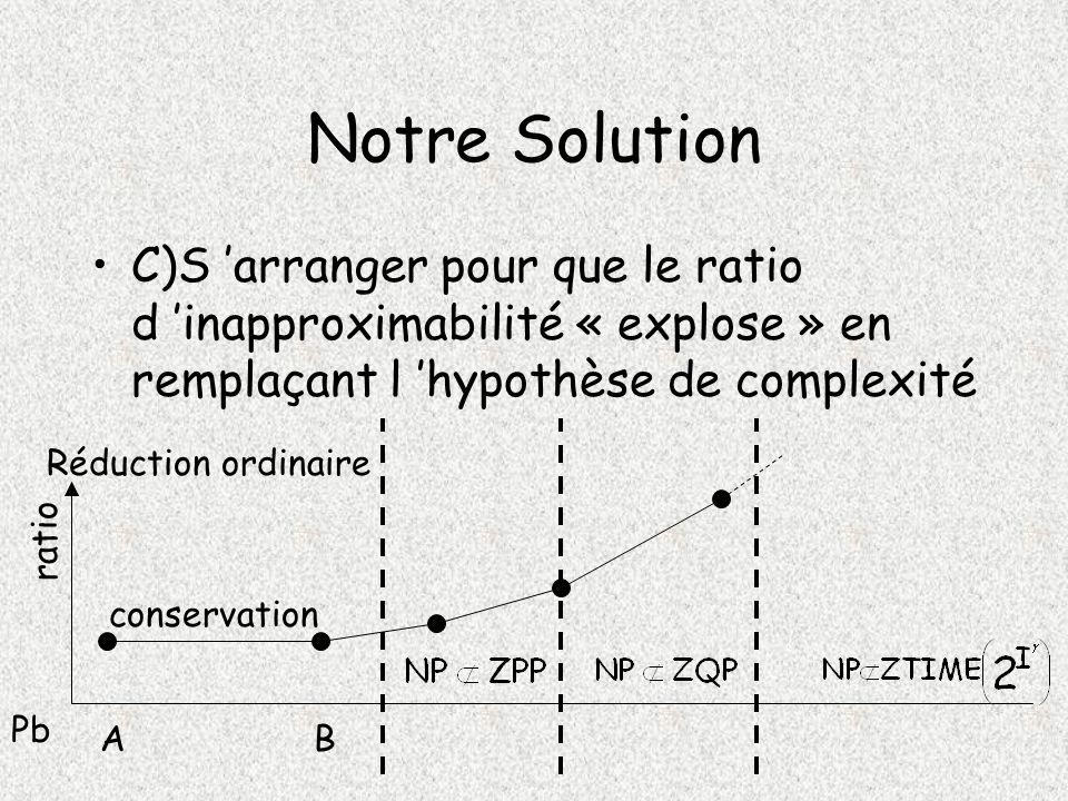 Notre Solution C)S 'arranger pour que le ratio d 'inapproximabilité « explose » en remplaçant l 'hypothèse de complexité.