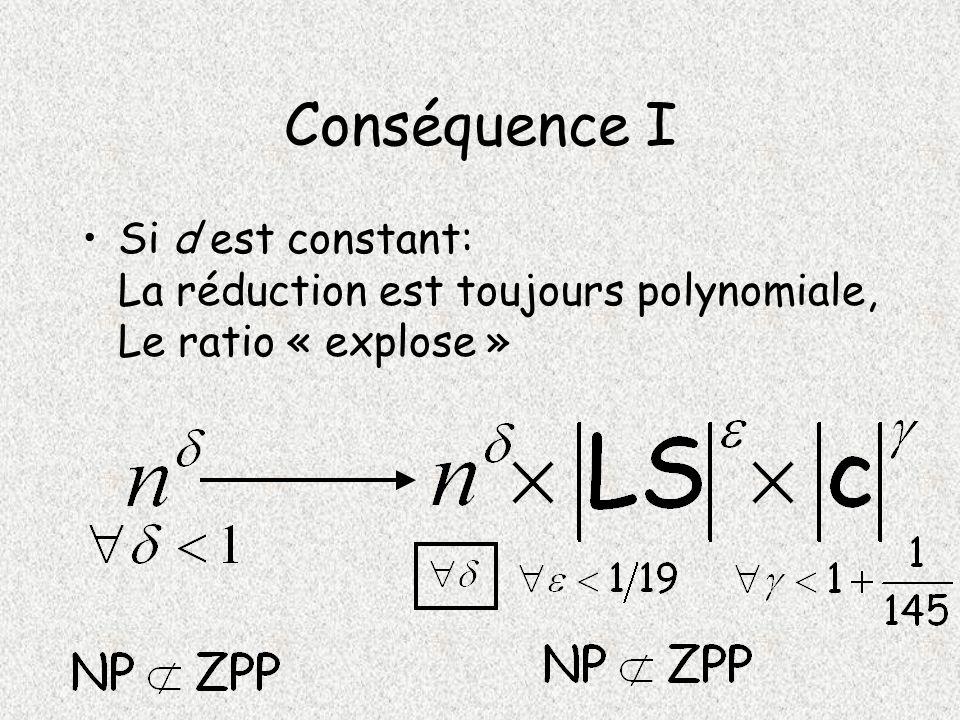 Conséquence I Si d est constant: La réduction est toujours polynomiale, Le ratio « explose »