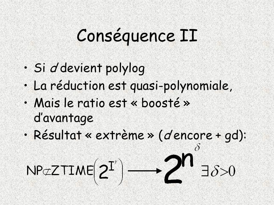 Conséquence II Si d devient polylog