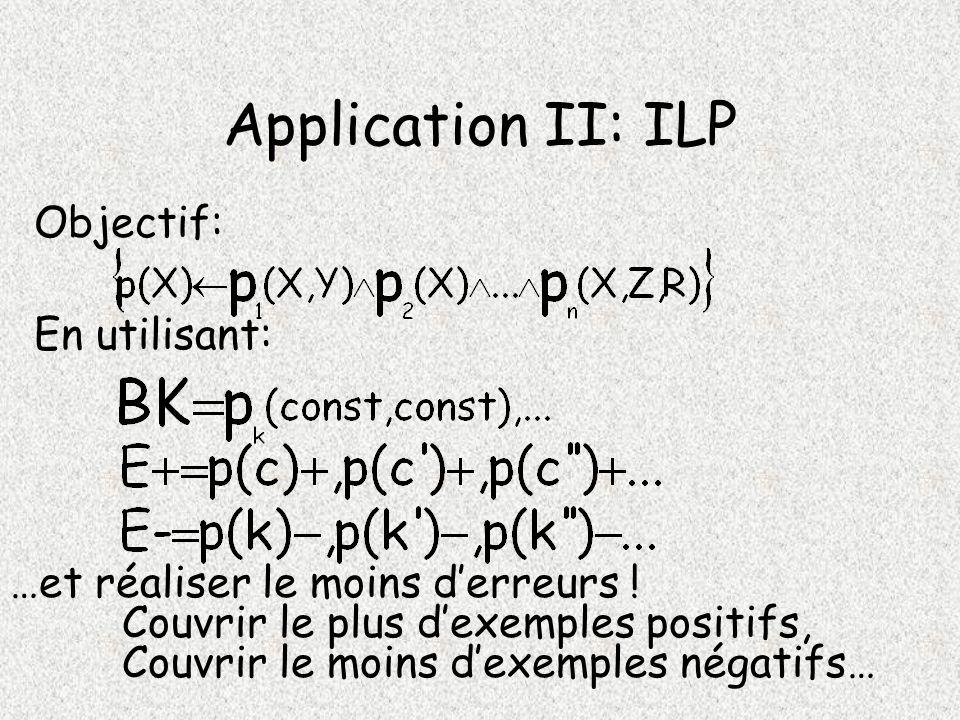 Application II: ILP Objectif: En utilisant: