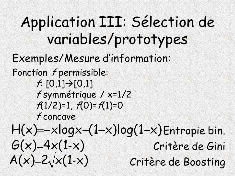 Application III: Sélection de variables/prototypes