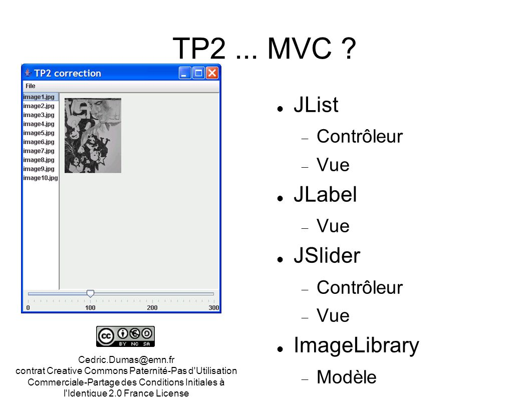TP2 ... MVC JList JLabel JSlider ImageLibrary Contrôleur Vue Modèle