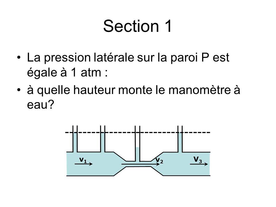 Section 1 La pression latérale sur la paroi P est égale à 1 atm :