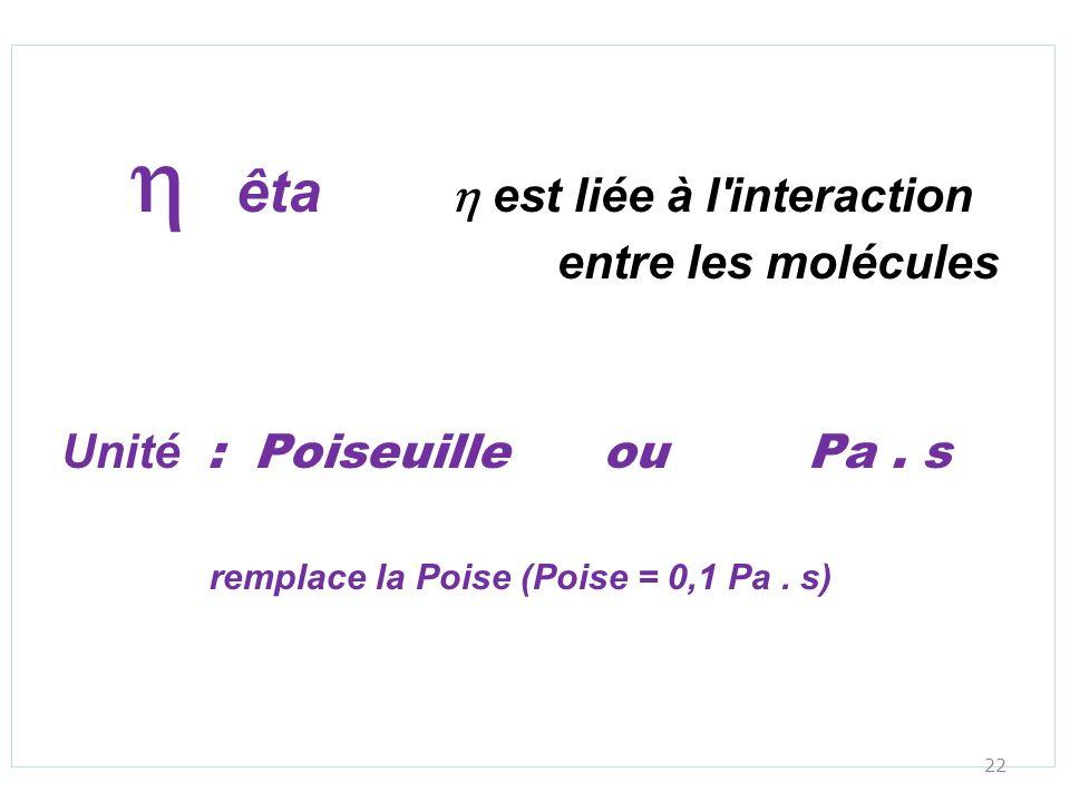 h êta h est liée à l interaction entre les molécules