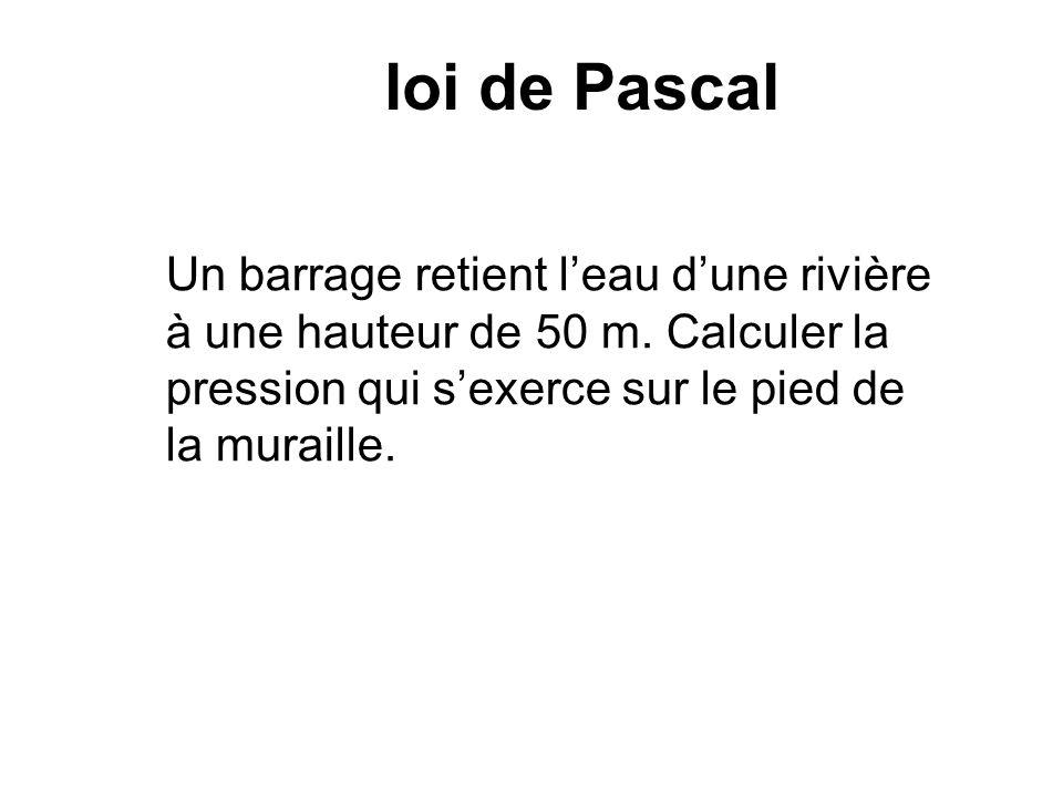 loi de Pascal Un barrage retient l'eau d'une rivière à une hauteur de 50 m.