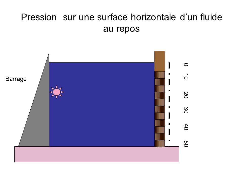 Pression sur une surface horizontale d'un fluide au repos