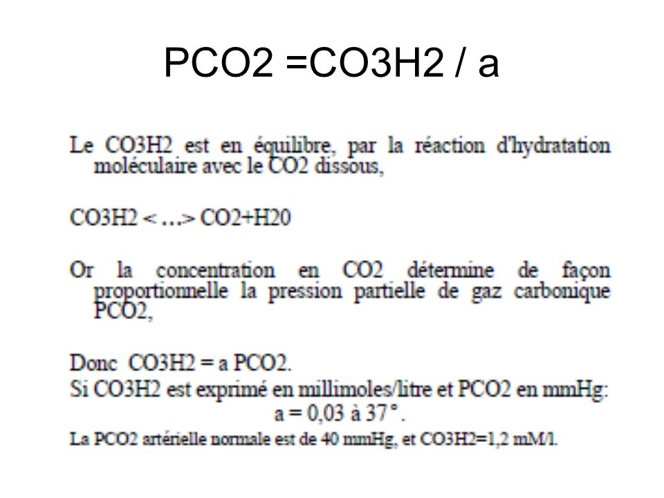 PCO2 =CO3H2 / a