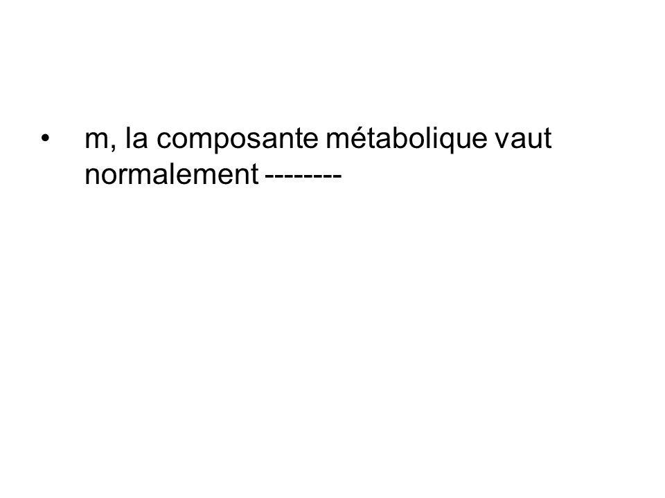 m, la composante métabolique vaut normalement --------